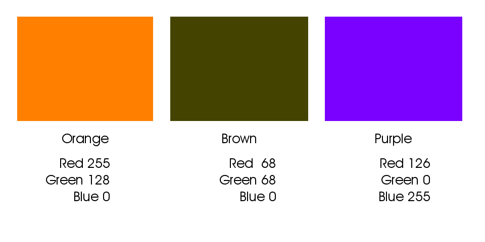 Intermediate colors result from builds using two or more colors.